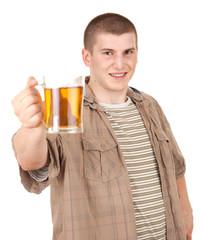 young man with mug of beer