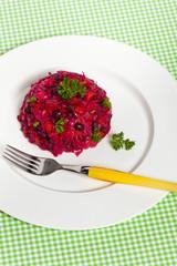 Traditional Russian vegetable salad. Vinaigrette.