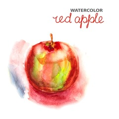 Background with watercolor apple