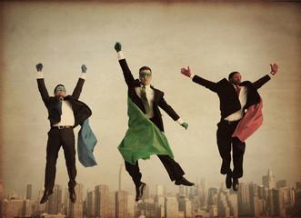 Retro Superhero Businessmen