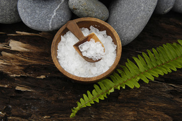 herbal salt in bowl and stones with fern on Driftwood