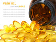 Fish oil capsules and bottle