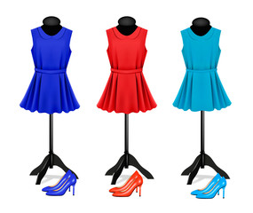 Fashion boutique background with colorful dresses and shoes. Vec