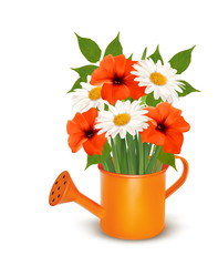 Summer flowers in a watering can. Vector.