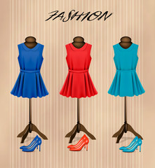 Retro fashion boutique background with colorful dresses and shoe
