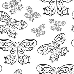 Seamless background with beautiful butterflies