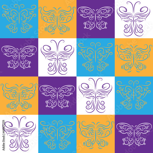 Seamless wallpaper with decorative butterflies