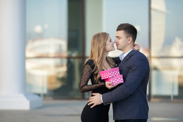Beautiful young couple,in a big city