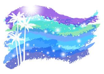 夏 椰子の木 波