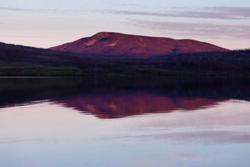 Little Salmon Lake Sunset Yukon Territory Canada