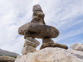 Cairn trail marker Inuksuk large stacked stones