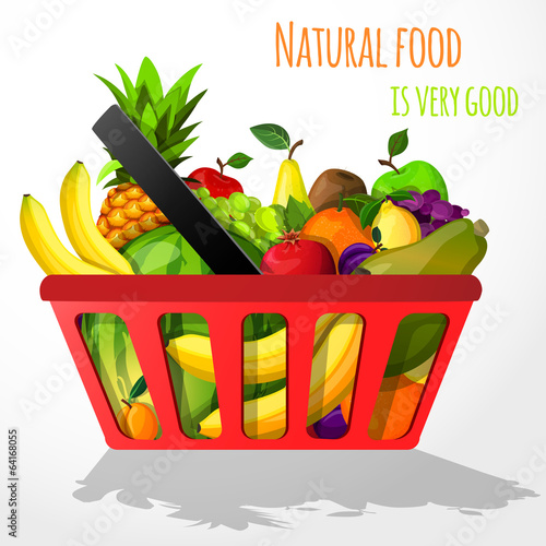 Fruits in shopping basket poster