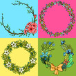Set of four floral cartoon wreathes