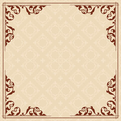 square card with vintage ornament - vector