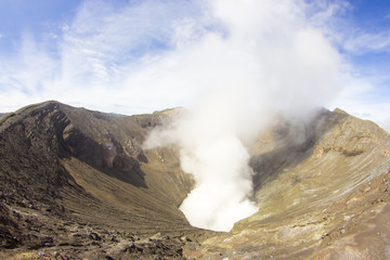 Mount Bromo, which produces smoke