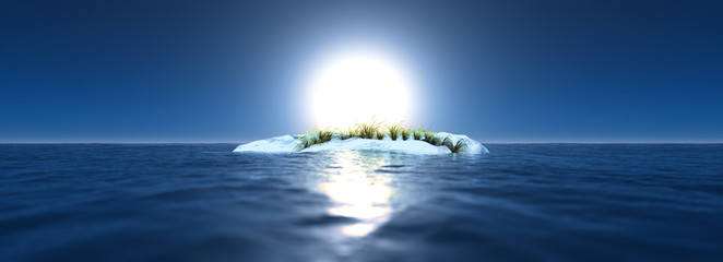 Global warming landscape. Arctic scenery with one ice rock and g