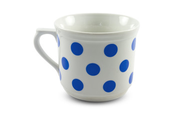 Empty big mug with blue dots, isolated on white background
