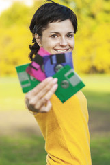 Girl with diskettes
