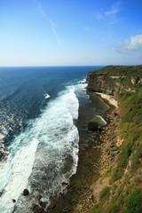 Cliff side sea ocean blue sky rock