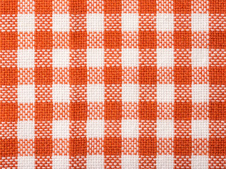 Orange Checked Kitchen Towel Texture Close Up