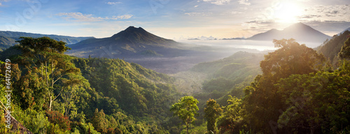 Leinwanddruck Bild Panorama of Batur and Agung volcano mountain Bali, Indonesia