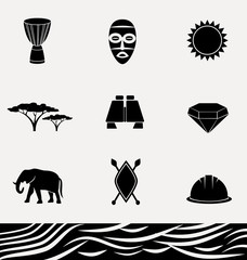 African culture - vector icon set.