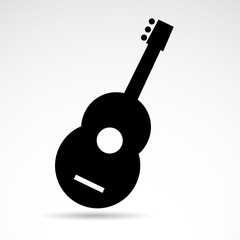 Guitar vector icon isolated on white background.