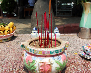 Incense sticks in a pot