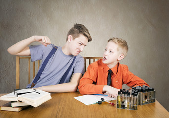 Boys conflict . Experiences with test tubes