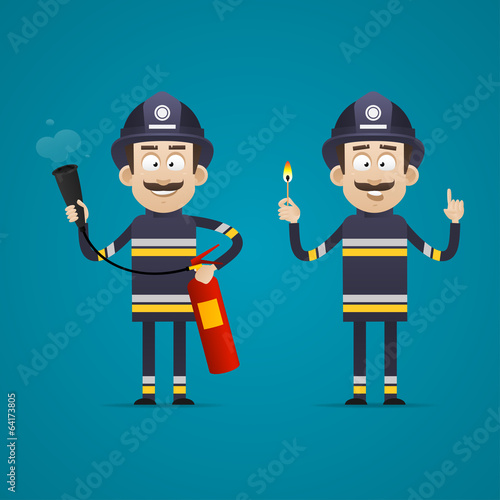 Fireman holds fire extinguisher and burning match