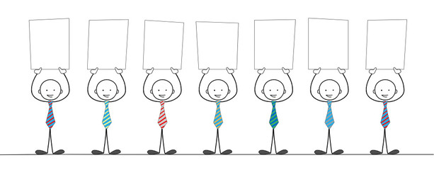 STICKMEN HOLDING BLANK SIGNS (marketing message pr)