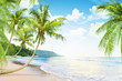 Beach with palm trees - 64174628