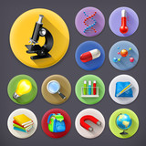 Fototapety Science and education, long shadow icon set