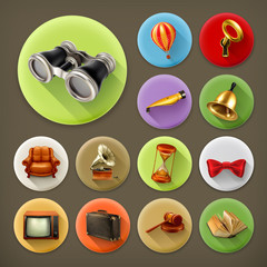 Universal long shadow retro icon set