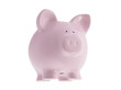 Floating pink piggy bank with clipping path