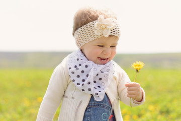 Laughing Girl with Dandelion
