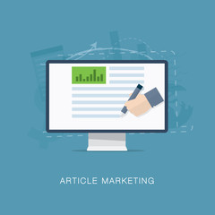 Flat internet article and newsletter marketing vector