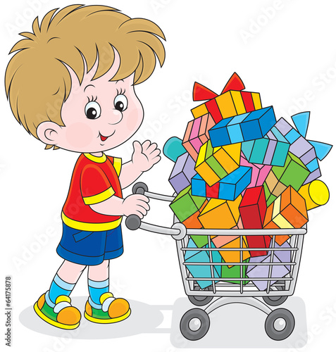 Little buyer going with a shopping trolley of gifts