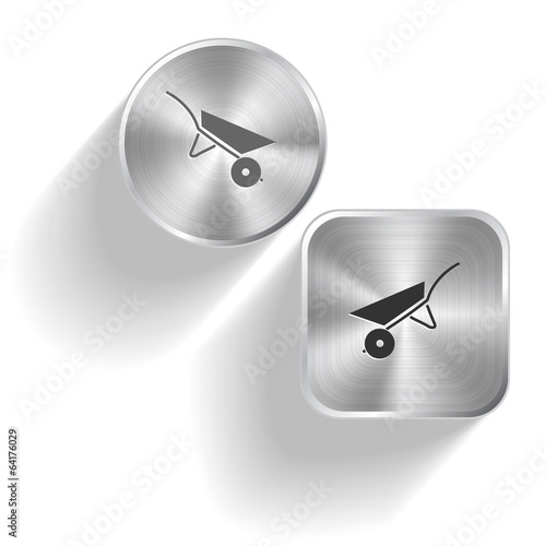 Wheelbarrow. Vector set steel buttons