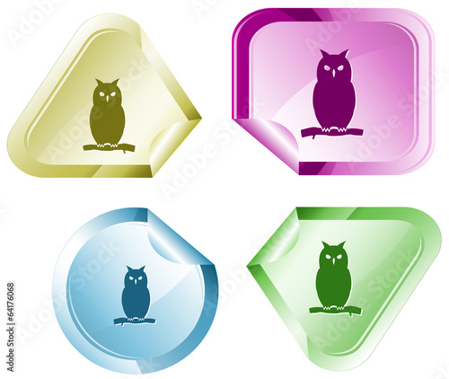 Owl. Vector sticker.