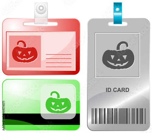 Pumpkin. Vector id cards.