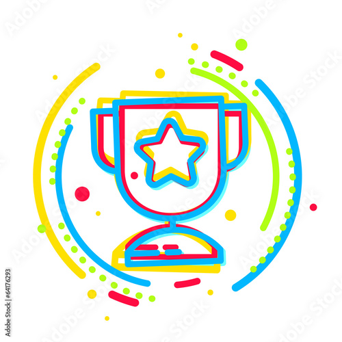 cup wiiner icon colored with color separation.