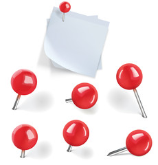 Set of red pushpins and blanks white paper with pushpins on whit