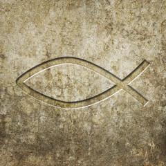 Fisch Symbol Steintafel