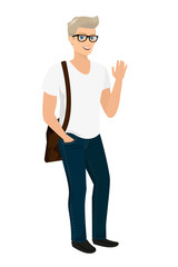 Handsome blond guy isolated vector illustration