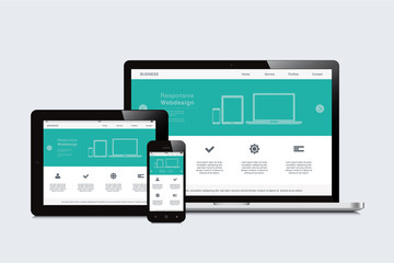 smartphone, tablet and laptop responsive webdesign