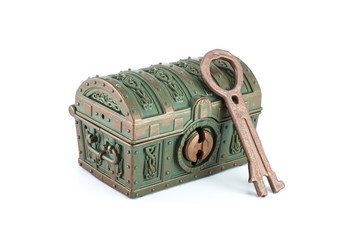 A treasure chest and key