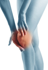 Acute pain in a woman knee. Sports trauma.