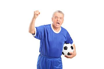 Fanatic football supporter cheering
