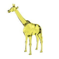 realistic 3d render of glass giraffe